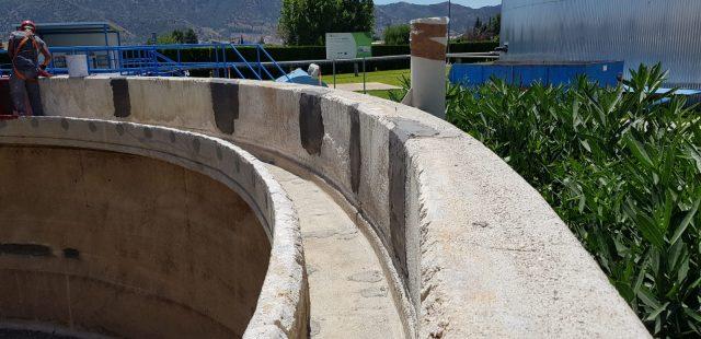 Estado inicial del espesador, detalle de reparaciones realizadas en el hormigón.